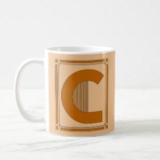 Líneas rectas art déco con el monograma, letra C Taza De Café