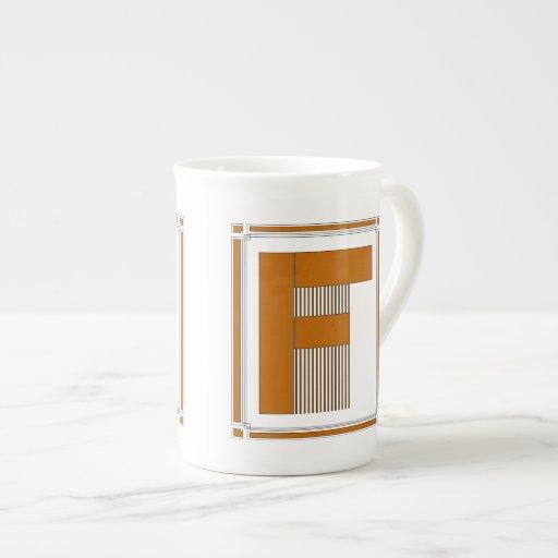 Líneas rectas art déco con el monograma, letra F Tazas De Porcelana
