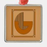 Líneas rectas art déco con el monograma, letra G Ornamento De Navidad