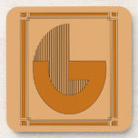 Líneas rectas art déco con el monograma, letra G Posavasos