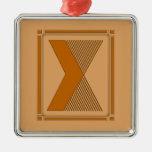 Líneas rectas art déco con el monograma, letra X Ornamentos Para Reyes Magos