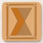 Líneas rectas art déco con el monograma, letra X Posavasos