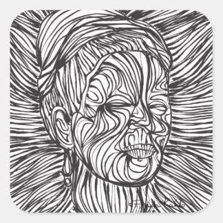 Líneas retrato de Frida Kahlo Pegatina Cuadrada