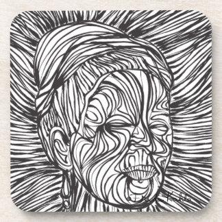 Líneas retrato de Frida Kahlo Posavaso