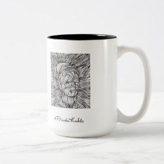 Líneas retrato de Frida Kahlo Taza De Café De Dos Colores