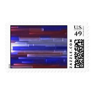Líneas rojas, blancas, y azules sello