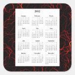 Líneas rojas salvajes calendario del diseño 2012 calcomanías cuadradass personalizadas
