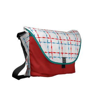 Líneas rojas y azules la bolsa de mensajero bolsas de mensajería