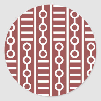 Líneas rojas y círculos modernos pegatina redonda