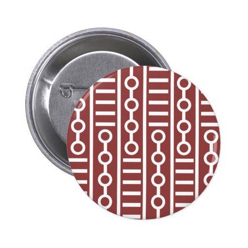 Líneas rojas y círculos modernos pin redondo 5 cm