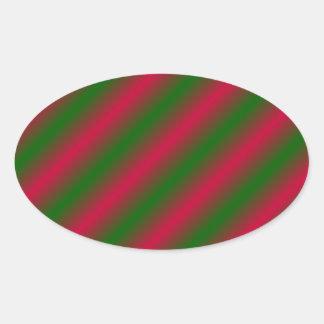 Líneas rosadas y verdes oscuras de Sideway Pegatina Ovalada