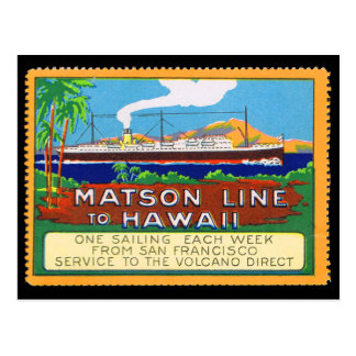 Líneas sello de Matson del poster circa 1915 Postal