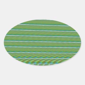 Líneas simples verdes del fractal con las ondulaci calcomanía oval