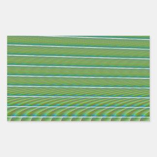 Líneas simples verdes del fractal con las rectangular pegatina