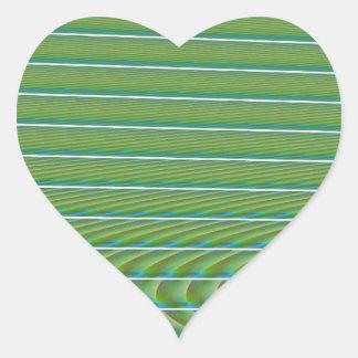 Líneas simples verdes del fractal con las calcomanía de corazón personalizadas