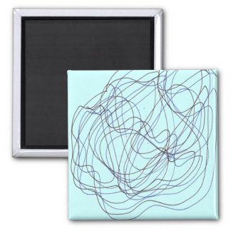 Líneas sin fin azules y negras imán cuadrado