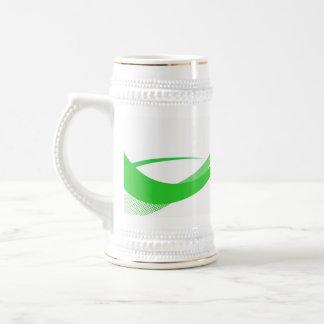 Líneas verdes abstractas fondo de Swoosh Jarra De Cerveza