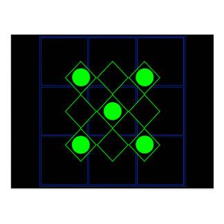 Líneas Verdes del Rhombus con los círculos verdes Tarjeta Postal