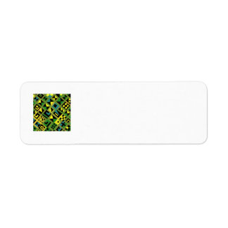 Líneas verdosas de Zizzag con el modelo al azar Etiqueta De Remite
