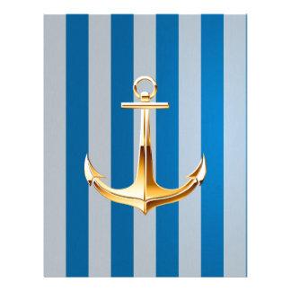 Líneas verticales y ancla azules y blancas del oro membretes personalizados