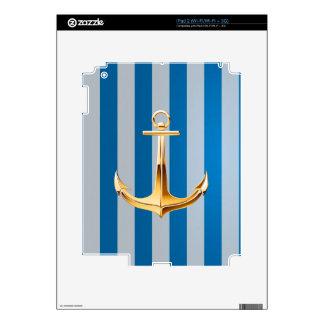 Líneas verticales y ancla azules y blancas del oro skins para iPad 2