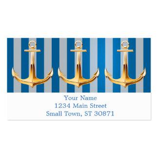 Líneas verticales y ancla azules y blancas del oro tarjetas de visita