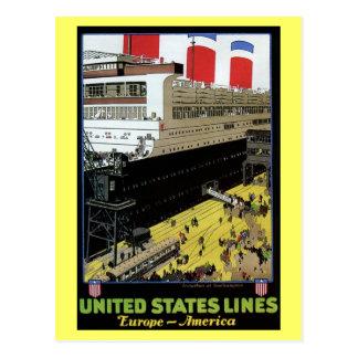 Líneas viaje de Estados Unidos del vintage de Euro Tarjeta Postal