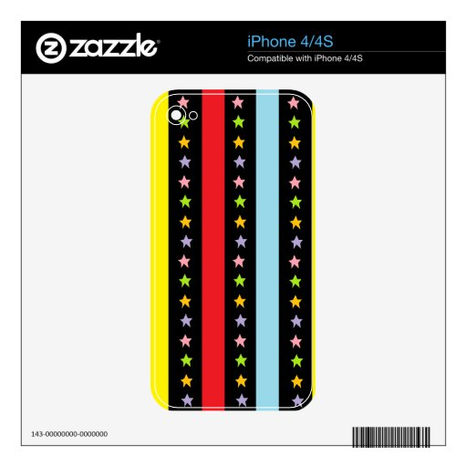 Líneas y estrellas coloridas iPhone 4 calcomanía