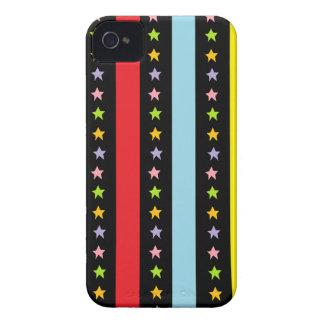 Líneas y estrellas coloridas iPhone 4 Case-Mate carcasa