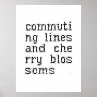 líneas y flores de cerezo de conmutación póster