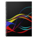 Líneas y modelo de ondas coloridos abstractos libreta espiral