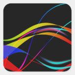 Líneas y modelo de ondas coloridos abstractos calcomanía cuadrada