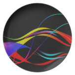 Líneas y modelo de ondas coloridos abstractos platos para fiestas
