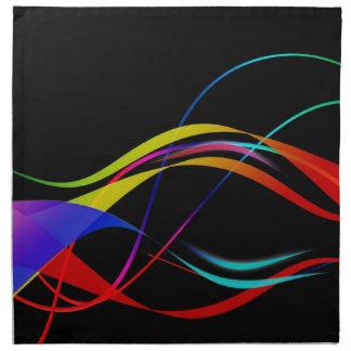 Líneas y modelo de ondas coloridos abstractos servilletas imprimidas
