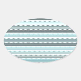 Líneas y puntos de la aguamarina pegatina ovalada