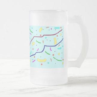 Líneas y puntos multicolores taza cristal mate