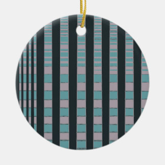 LINED ABSTRACT Double-Sided CERAMIC ROUND CHRISTMAS ORNAMENT