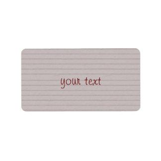 lined beige paper custom address labels