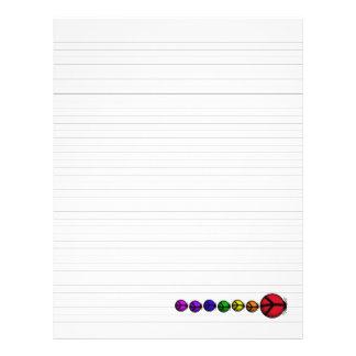 "Lined Binder Paper 8.5""x11"" Ladybug Peace Rainbow"