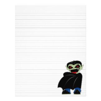 "Lined Binder Paper Dracula Halloween Solid Black 8.5"" X 11"" Flyer"