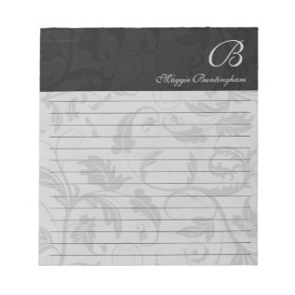 Lined Black Damask with Name and Monogram Notepad