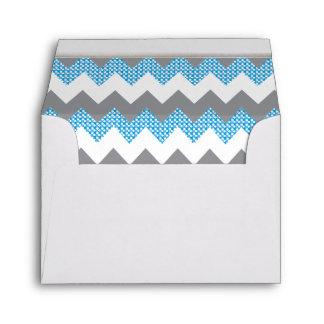 Lined Blue, White, Gray Chevron White Gold Bar Envelope