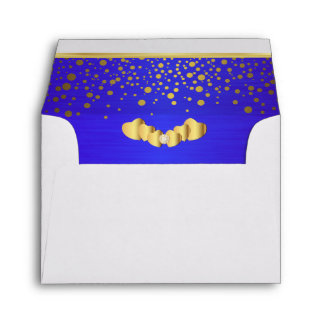 Lined Bright Blue Gold Confetti & Diamond Hearts Envelope