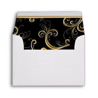 Lined Bright Golden Florid Print Envelopes