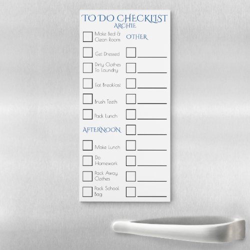 Lined checkbox childrens household chores blue magnetic notepad