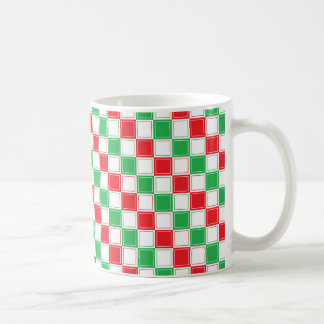 Lined Checkered Red, White and Green Coffee Mug