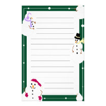 Lined Christmas Snowmen Holiday Stationery