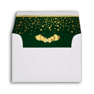 Lined Dark Green Gold Confetti & Diamond Hearts Envelopes