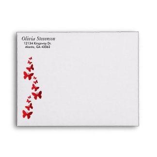 Lined Deep Rich Red with Gold Bar Red Butterflies Envelope