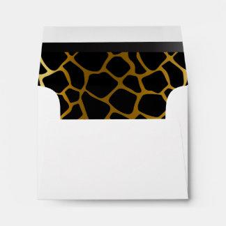 Lined Gold & Black Giraffe Animal Print Envelope